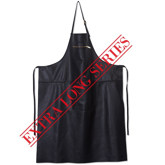 dutchdeluxes schort Extra-long-apron-Leather-zipper-style-Black knoopsschat aalter
